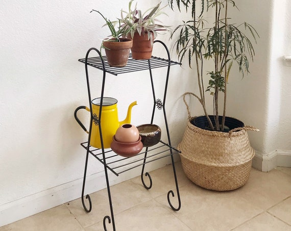 mid century modern black wire table plant stand   tiered shelf