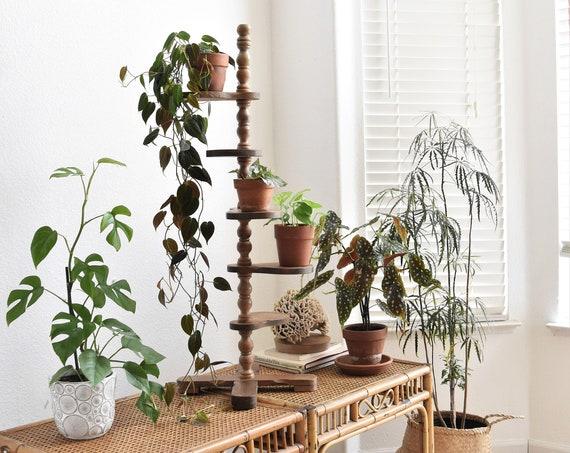 vintage tiered wooden pedestal plant stand holder   climbing ladder flower pot shelf