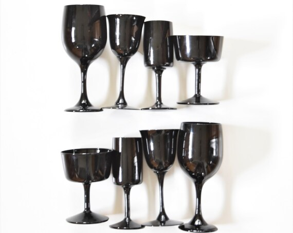 cordon bleu fine crystal set of 8 modern solid black glass cocktail stemware \ champaign wine gift barware