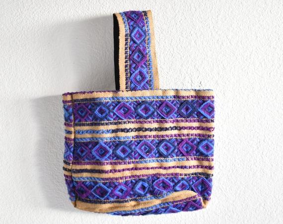 boho embroidered blue purple diamond hand bag / hippie summer bag