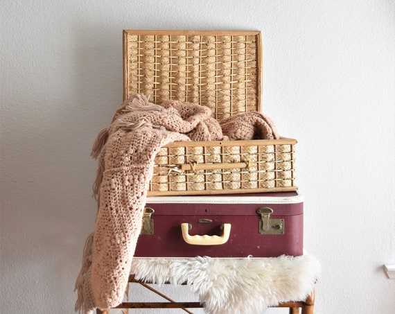 mid century woven bamboo rattan wicker chest / suitcase trunk / storage basket