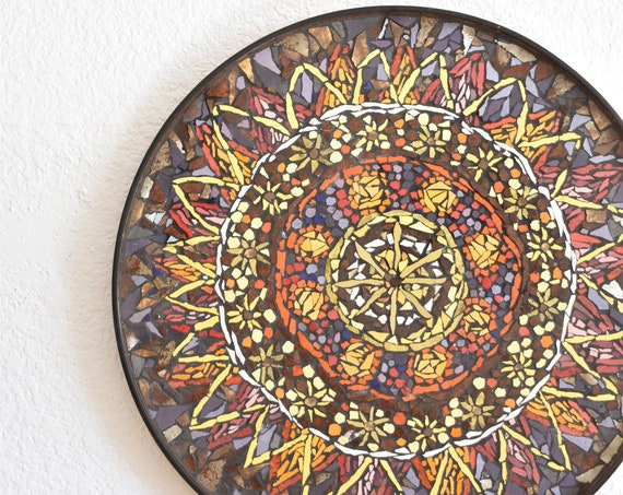 mid century modern glass mosaic serving tray wall hanging art | multicolored sun flower decorative plate