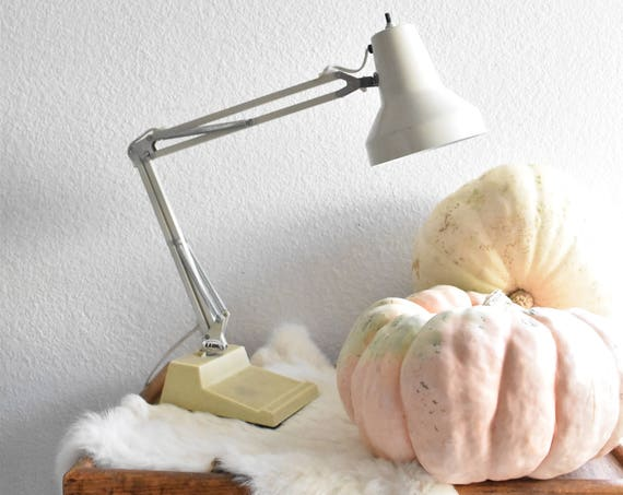 mid century adjustable industrial metal swing arm white clamp on lamp with base