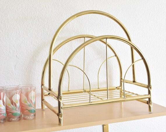 mid century modern ornate brass gold tone magazine rack / hollywood regency home decor organizer