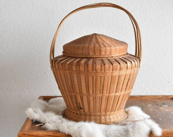 vintage woven wicker rattan basket with handle / snake charmer basket