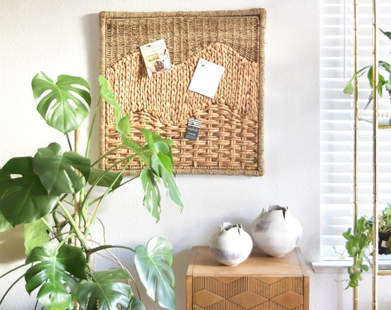 large bohemian wall hanging straw wicker art   repurposed office cork message board