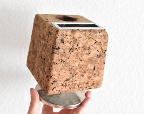 vintage mid century cork pencil holder / cork memo ball / office supplies