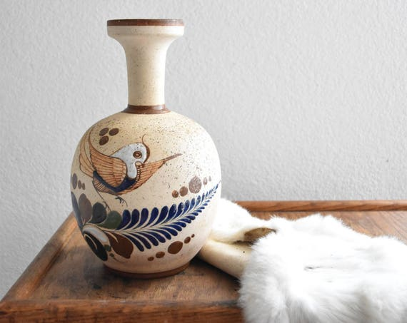 vintage large hand painted mexican pottery / vessel / vase / water jug / bird