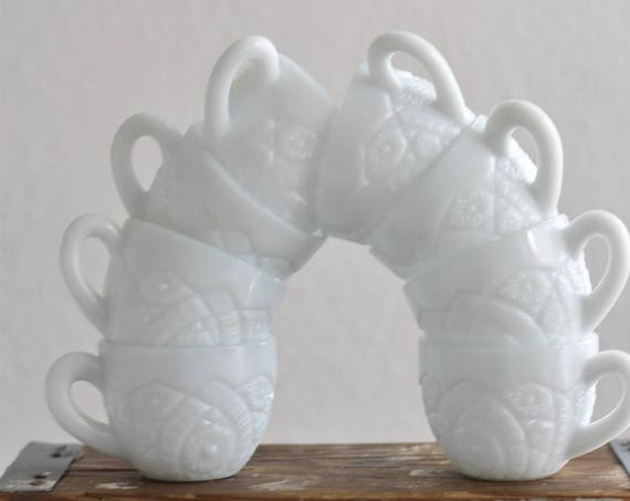 vintage white wedding carved milk glass teacups / coffee cup set of 10
