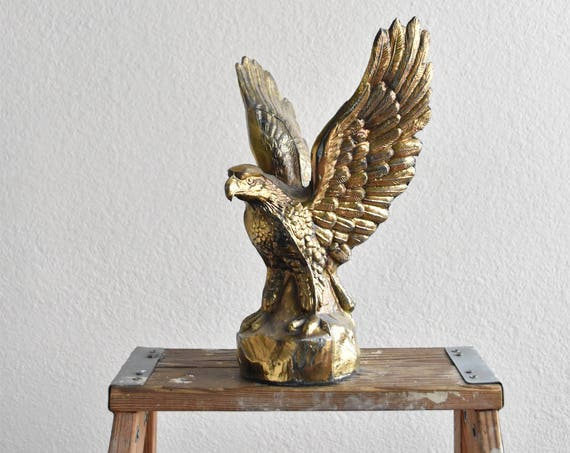 "12"" gold tone eagle figurine sculpture / american"