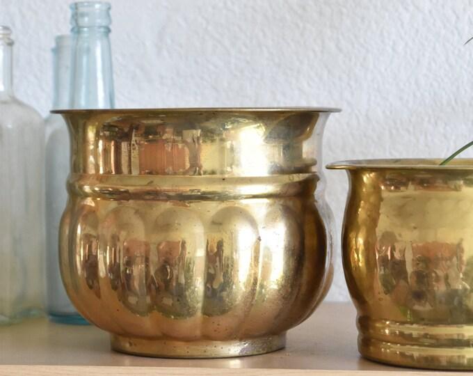 vintage hollywood regency solid brass planter / flower vase pot