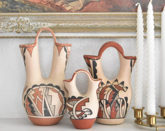 vintage native american hand painted pottery vase pitcher / wedding set