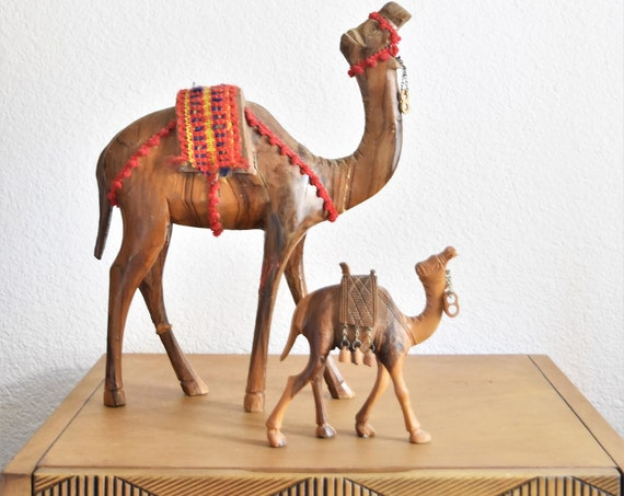 small hand carved wooden camel llama figurine / caravan sculpture