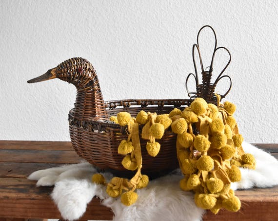 boho woven wicker bird duck basket planter / sculpture