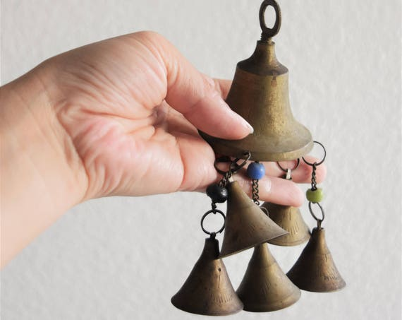 beaded solid brass bell / rustic primitive decor / string of bells