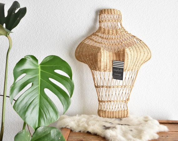 mid century woven wicker wall haning mannequin form | torso bust store display