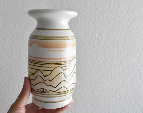hand painted clouds sky yellow orange stoneware vase / cylinder