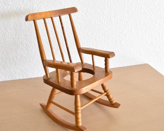 vintage miniature doll wood rocking chair / air plant holder