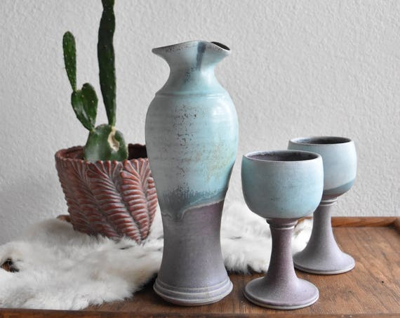 purple turquoise teal earthtone speckled stoneware pitcher goblet set / vessel