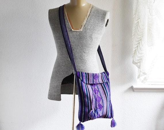 vintage purple striped shoulder hippie boho bag / boho / mexican / pinzon / across the chest