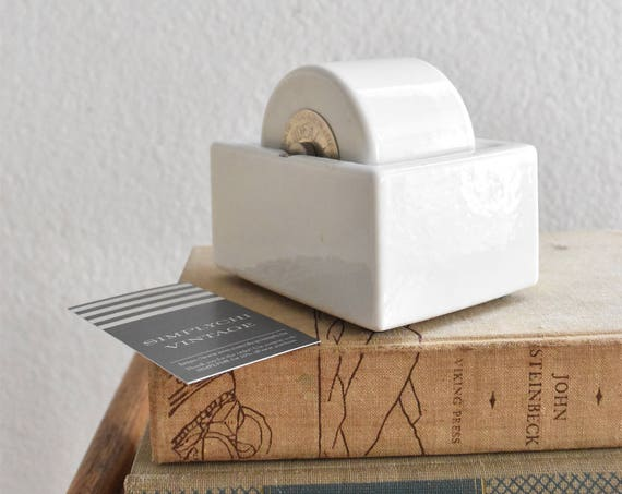 large mid century white porcelain stamp roller moistener paperweight / back to school supplies