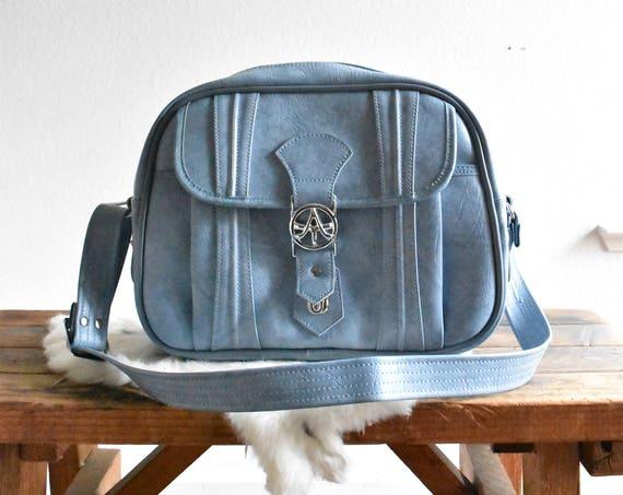 vintage samsonite blue vinyl travel bag luggage / shoulder bag / messenger bage / tote