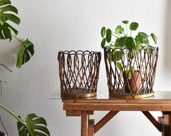set of 2 larger woven bamboo planter baskets