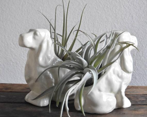 set of 2 solid white ceramic puppy dog flower planters / indoor pots