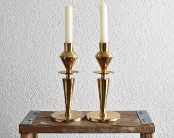 ornate brass candlestick holders / hollywood regency / set of 2