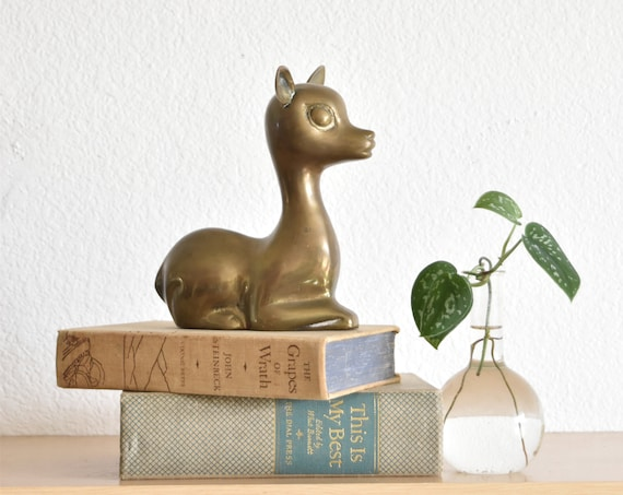 mid century art deco solid brass deer figurine / sculpture