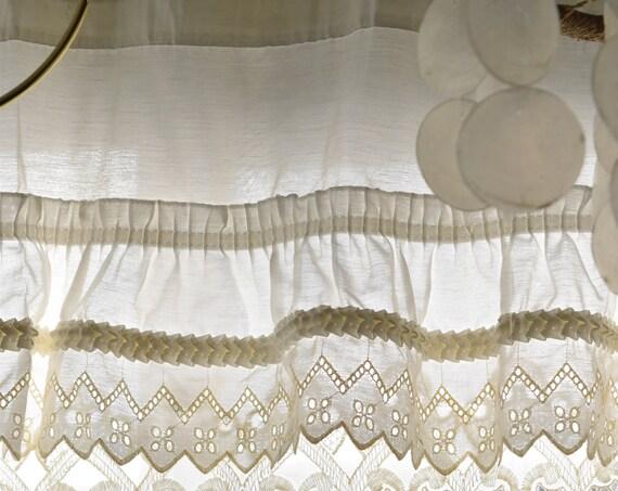 one long short panel white lace cutout window valance curtain / window decor