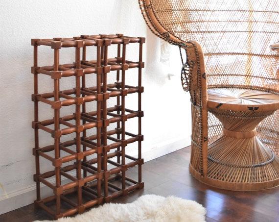 geometric modular rustic wood wine bottle rack storage