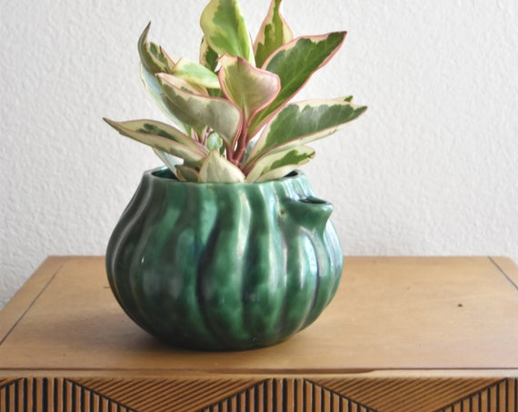 vintage mid century ceramic green flower pot