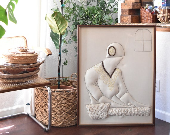 large framed embroidered lady fiber art wall hanging / tapestry