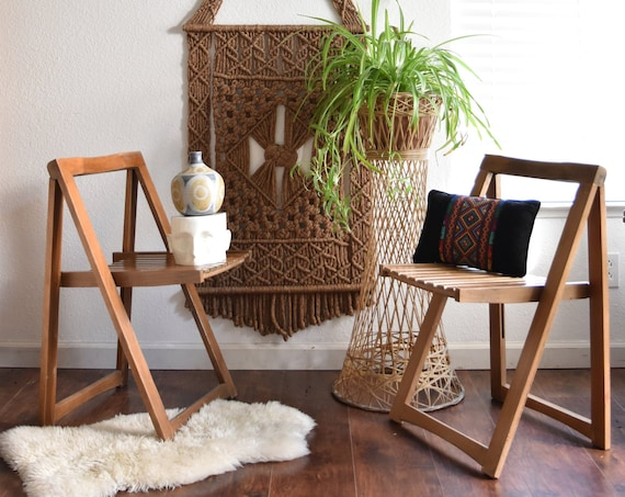 vintage mid century modern wooden folding chair / A frame chair / furniture