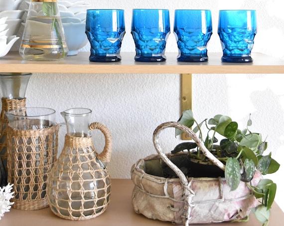 matching blue cocktail glasses / depression glass set of 4