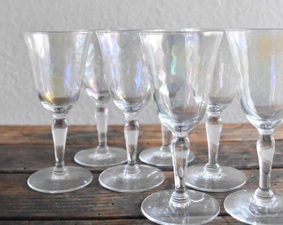 set of 7 iridescent stemware cocktail martini glasses / barware