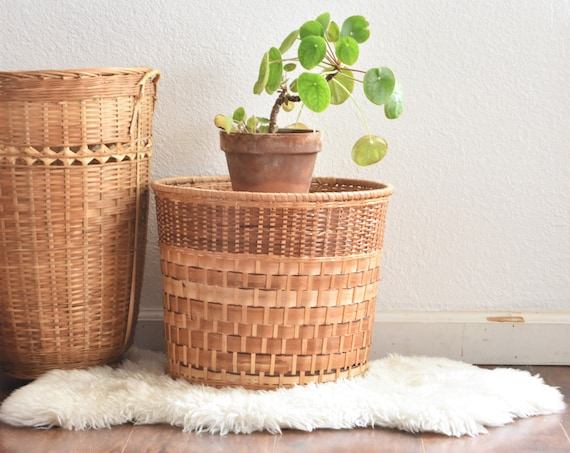 wide woven rattan bamboo wicker storage waste basket container / trash can