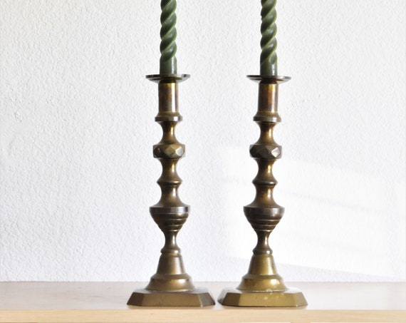 antique tall solid brass candlestick holders / candleholder set
