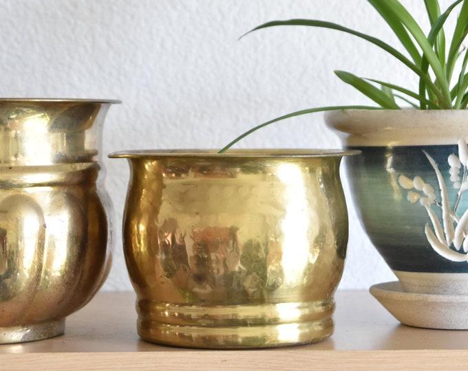 vintage small hammered solid brass planter / flower vase pot
