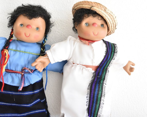 "17"" tall vintage mexican boy girl Pinggun Darice Big Plastic Dolls 