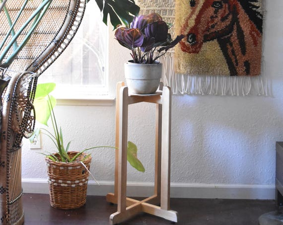 vintage tall wood plant stand with legs / planter / 1 stand