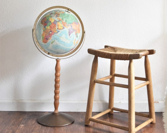floor standing multicolored vintage replogle world globe on long wood stand / raised relief atlas / 12 inch