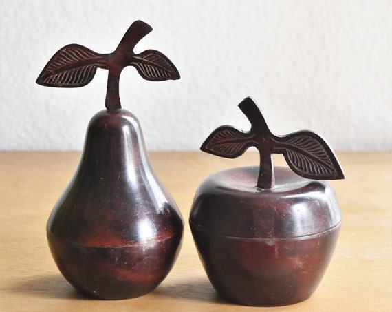 set of 2 metal pear apple with leaf container sculptures / office paperweight / trinket gift box