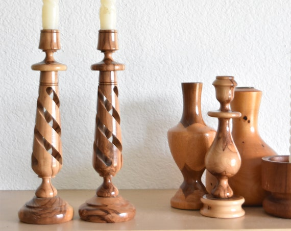 twisted pair of hand turned wood candleholder / candlestick holder set of 2
