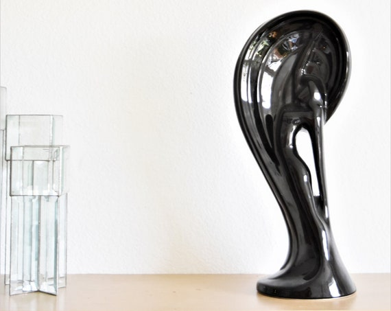 authentic royal haeger art deco tall black ceramic pottery of lady | woman figurine serenade