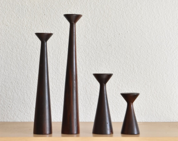 mid century modern scandinavian danish carved wooden candlestick holders / set of 4