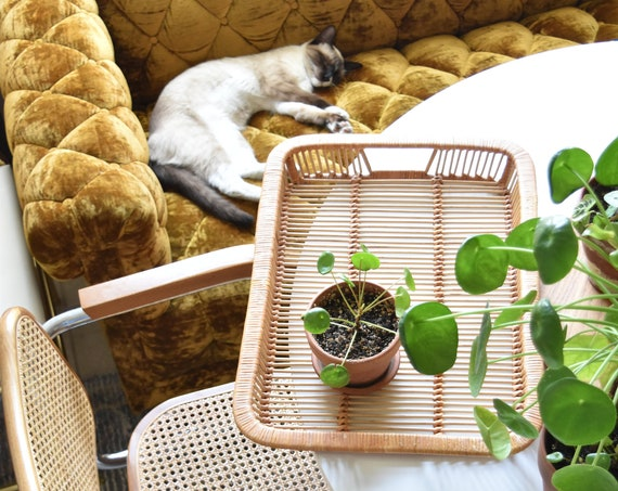 """large 19.5"""" wicker bamboo rattan basket serving tray with handles"""