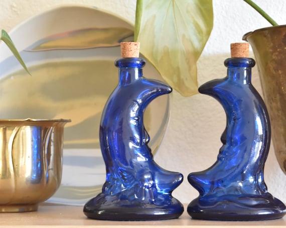 vintage blue cobalt man on the moon glass bottle with cork / moon figurine vase / 1 bottle