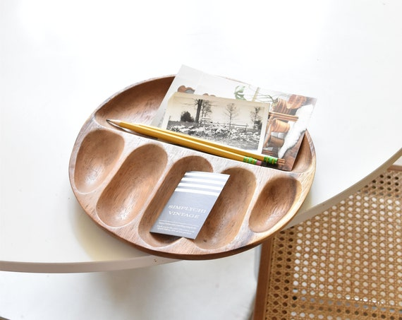 hand carved wood tray plate | business card holder | office farmhouse home decor